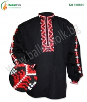 Черна бродирана риза с шевици