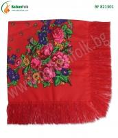 Червена кърпа за глава с ресни