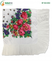 Бяла македонска кърпа за глава с ресни