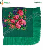 Зелена македонска кърпа за глава с ресни