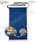 БФ 220531 Фъкана ямболска престилка с дантела - синя