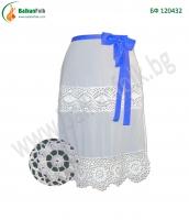 БФ 120432 - Бяла престилка с дантела и синя панделка