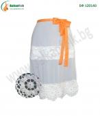 БФ 120431 - Бяла престилка с дантела - оранжева панделка